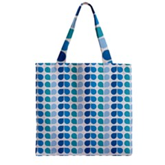 Blue Green Leaf Pattern Zipper Grocery Tote Bags