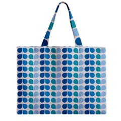 Blue Green Leaf Pattern Zipper Tiny Tote Bags