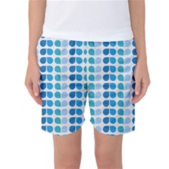 Blue Green Leaf Pattern Women s Basketball Shorts