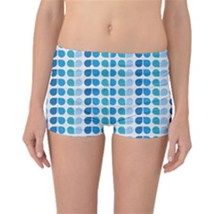 Blue Green Leaf Pattern Boyleg Bikini Bottoms