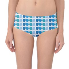 Blue Green Leaf Pattern Mid-Waist Bikini Bottoms