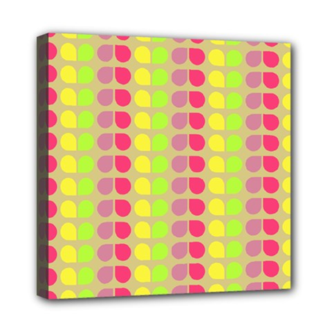 Colorful Leaf Pattern Mini Canvas 8  X 8