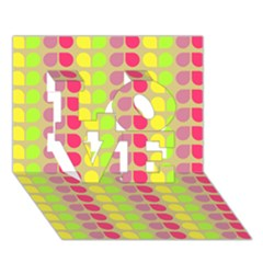 Colorful Leaf Pattern LOVE 3D Greeting Card (7x5)