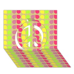Colorful Leaf Pattern Peace Sign 3d Greeting Card (7x5)