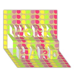 Colorful Leaf Pattern WORK HARD 3D Greeting Card (7x5)