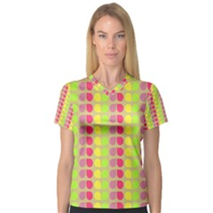 Colorful Leaf Pattern Women s V Neck Sport Mesh Tee