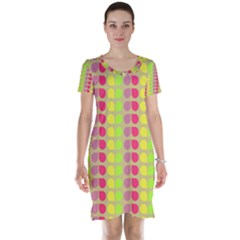 Colorful Leaf Pattern Short Sleeve Nightdresses