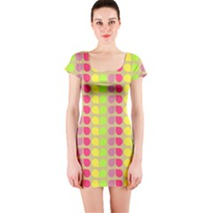 Colorful Leaf Pattern Short Sleeve Bodycon Dresses