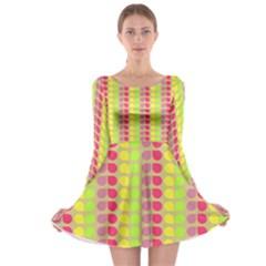 Colorful Leaf Pattern Long Sleeve Skater Dress