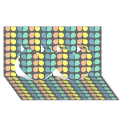 Colorful Leaf Pattern Twin Hearts 3d Greeting Card (8x4)