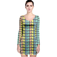 Colorful Leaf Pattern Long Sleeve Bodycon Dresses