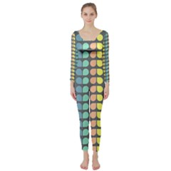 Colorful Leaf Pattern Long Sleeve Catsuit