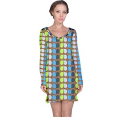 Colorful Leaf Pattern Long Sleeve Nightdresses