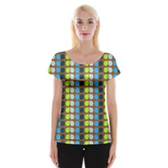 Colorful Leaf Pattern Women s Cap Sleeve Top