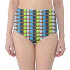Colorful Leaf Pattern High Waist Bikini Bottoms