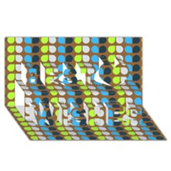 Colorful Leaf Pattern Best Wish 3D Greeting Card (8x4)