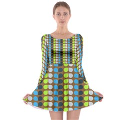 Colorful Leaf Pattern Long Sleeve Skater Dress