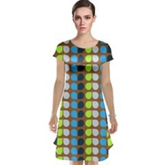 Colorful Leaf Pattern Cap Sleeve Nightdresses