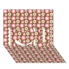 Cute Floral Pattern I Love You 3d Greeting Card (7x5)