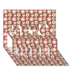 Cute Floral Pattern Get Well 3D Greeting Card (7x5)