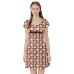 Cute Floral Pattern Short Sleeve Skater Dresses