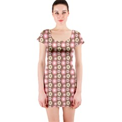 Cute Floral Pattern Short Sleeve Bodycon Dresses