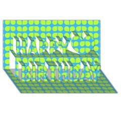 Blue Lime Leaf Pattern Happy Birthday 3D Greeting Card (8x4)
