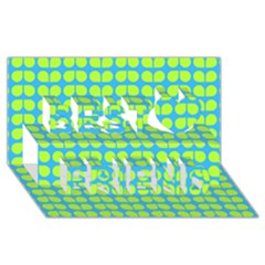 Blue Lime Leaf Pattern Best Friends 3D Greeting Card (8x4)