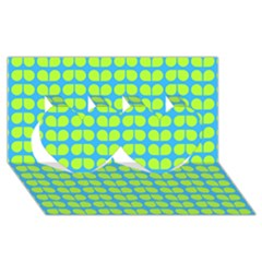 Blue Lime Leaf Pattern Twin Hearts 3d Greeting Card (8x4)