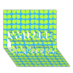 Blue Lime Leaf Pattern You Are Invited 3d Greeting Card (7x5)