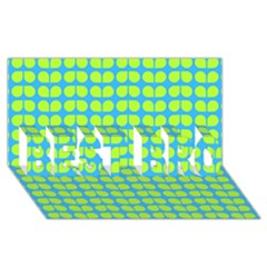 Blue Lime Leaf Pattern BEST BRO 3D Greeting Card (8x4)