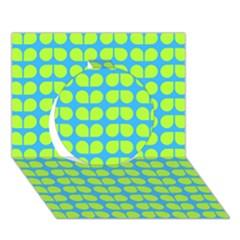 Blue Lime Leaf Pattern Circle 3d Greeting Card (7x5)