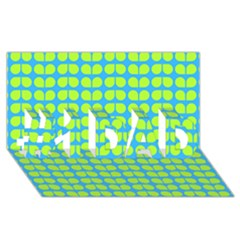 Blue Lime Leaf Pattern #1 Dad 3d Greeting Card (8x4)