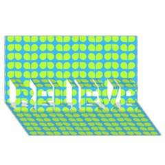 Blue Lime Leaf Pattern BELIEVE 3D Greeting Card (8x4)