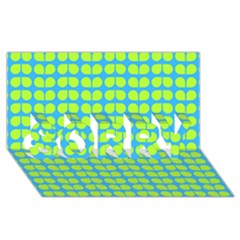 Blue Lime Leaf Pattern SORRY 3D Greeting Card (8x4)