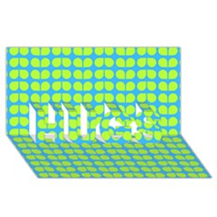 Blue Lime Leaf Pattern HUGS 3D Greeting Card (8x4)
