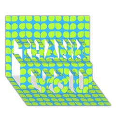 Blue Lime Leaf Pattern THANK YOU 3D Greeting Card (7x5)