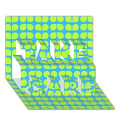 Blue Lime Leaf Pattern TAKE CARE 3D Greeting Card (7x5)