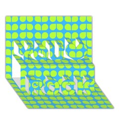 Blue Lime Leaf Pattern You Rock 3d Greeting Card (7x5)