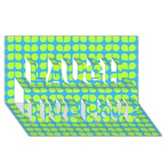 Blue Lime Leaf Pattern Laugh Live Love 3D Greeting Card (8x4)