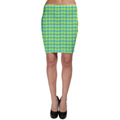 Blue Lime Leaf Pattern Bodycon Skirts