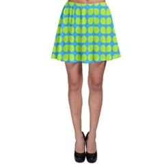 Blue Lime Leaf Pattern Skater Skirts