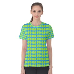 Blue Lime Leaf Pattern Women s Cotton Tees