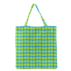 Blue Lime Leaf Pattern Grocery Tote Bags