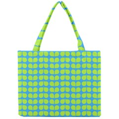 Blue Lime Leaf Pattern Tiny Tote Bags