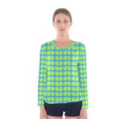 Blue Lime Leaf Pattern Women s Long Sleeve T-shirts