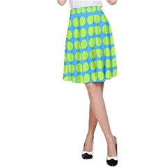 Blue Lime Leaf Pattern A Line Skirts