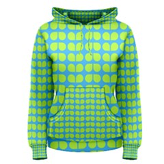 Blue Lime Leaf Pattern Women s Pullover Hoodies