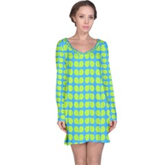 Blue Lime Leaf Pattern Long Sleeve Nightdresses