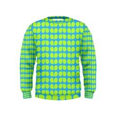 Blue Lime Leaf Pattern Boys  Sweatshirts